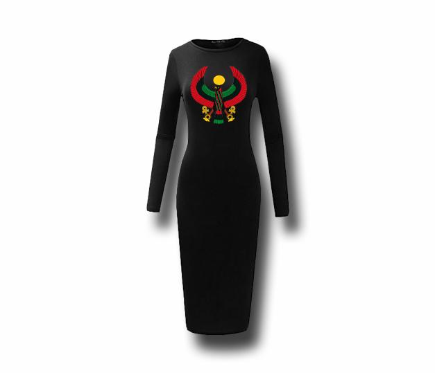 fcd6a87d37 Women s Black Heru Long Sleeve (Bodycon) T-Shirt Dress - Pan African ...