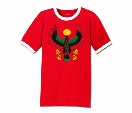 Men Red with White Trim Heru T-Shirt