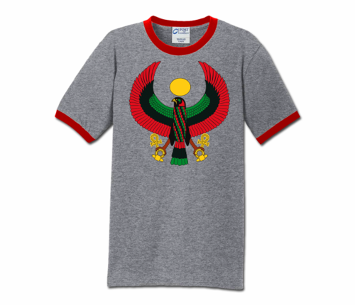 Men Heather Grey with Red Trim Heru T-Shirt