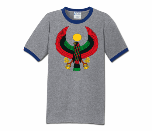 Men Heather Grey with Blue Trim Heru T-Shirt