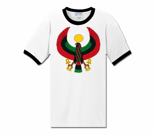 Men White with Black Trim Heru T-Shirt