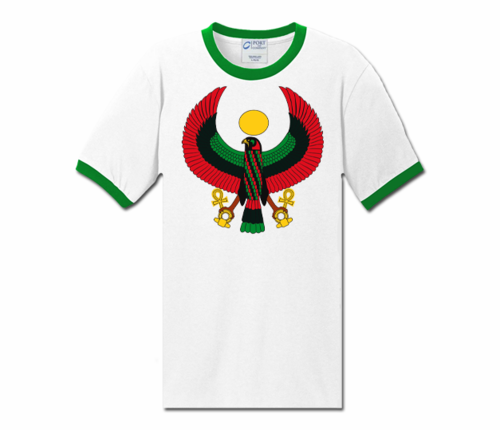 Men White with Ivy Green Trim Heru T-Shirt