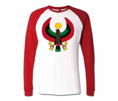 Men White with Red Heru Baseball T-Shirts (Long Sleeve)