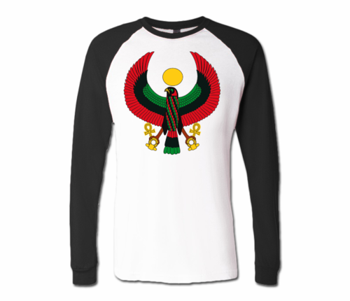 Men White with Black Heru Baseball T-Shirts (Long Sleeve)