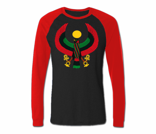 Men Black with Red Heru Baseball T-Shirts (Long Sleeve)