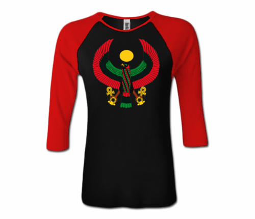 Women Black and Red Baseball Heru T-Shirt