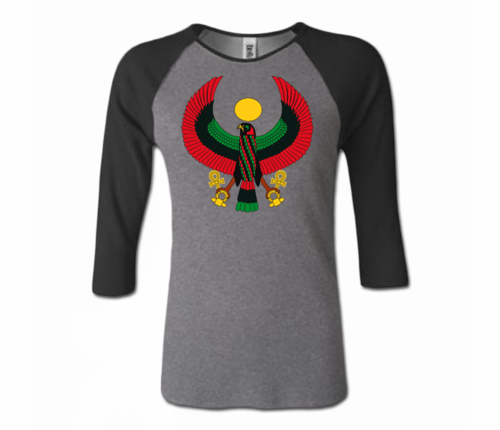 Women Grey and Black Heru Baseball T-Shirt