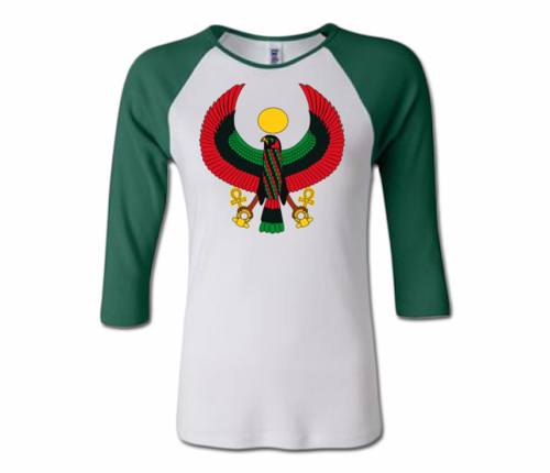 Women White and Green Heru Baseball T-Shirt