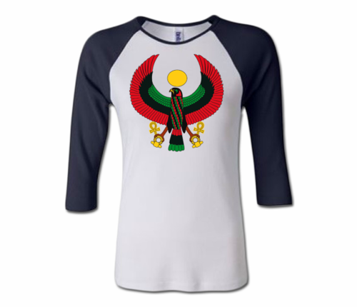 Women White and Navy Heru Baseball T-Shirt