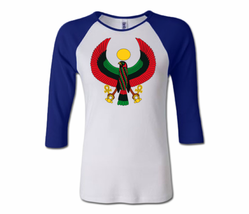 Women White and Royal Blue Heru Baseball T-Shirt