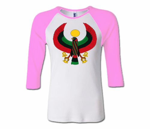 Women White and Pink Heru Baseball T-Shirt