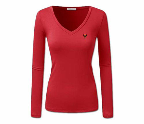 Women Red Heru L/S Sheer V-Neck T-Shirt