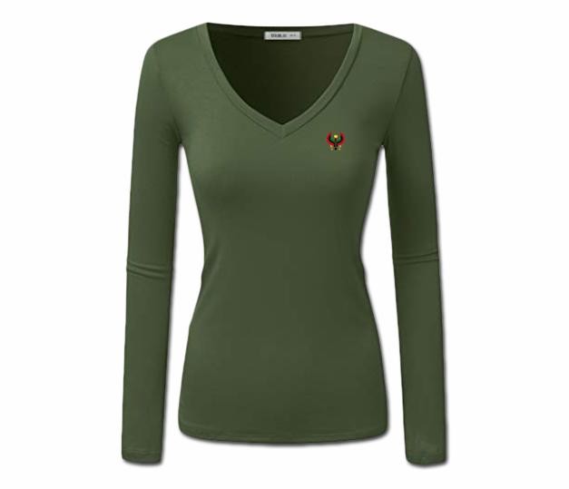 Sheer L African Pan Olive Designs Heru - V-neck Green Women s T-shirt