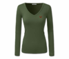 Women Olive Green Heru L/S Sheer V-Neck T-Shirt