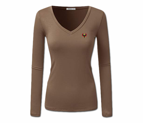 Women Coffee Brown Heru L/S Sheer V-Neck T-Shirt