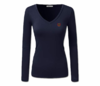 Women Navy Blue Heru L/S Sheer V-Neck T-Shirt