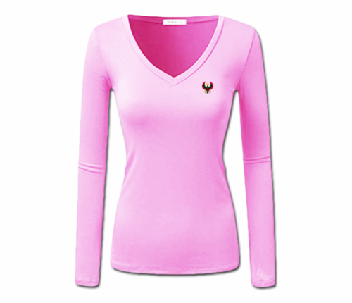 Women Pink Heru L/S Sheer V-Neck T-Shirt