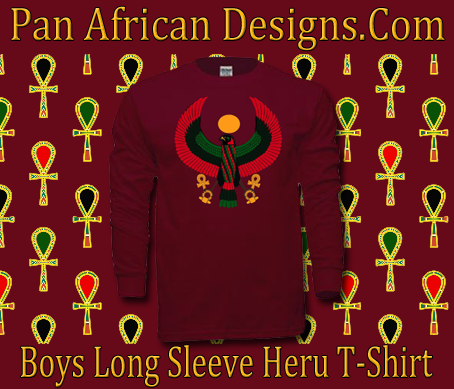 Boys Maroon Black Heru Long Sleeve T-Shirt