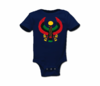 Infant Navy Blue Large Print Heru Onesie
