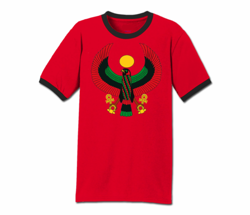 Men Red with Black Trim Heru T-Shirt