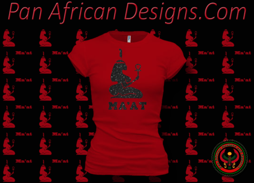 Women's Red and Black Maat T-Shirts with Glitter
