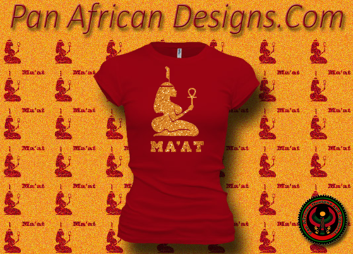 Women's Red and Gold Maat T-Shirts with Glitter