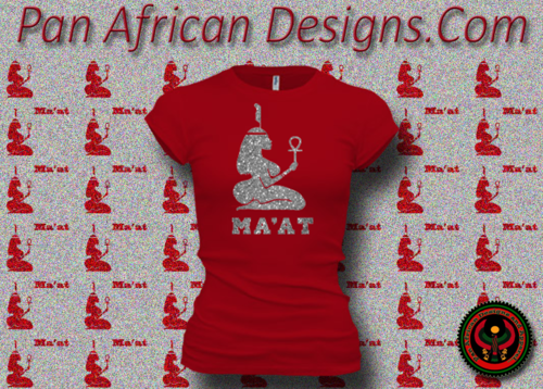 Women's Red and Silver Maat T-Shirts with Glitter