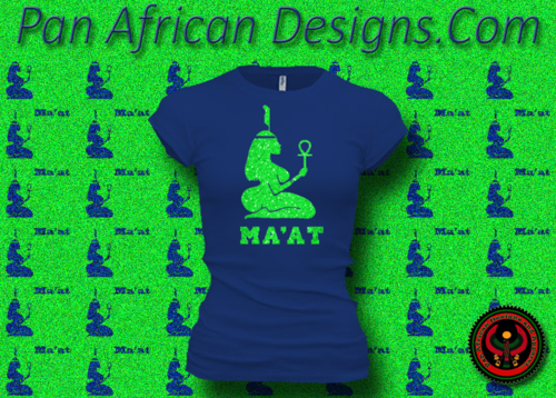 Women's Royal Blue and Green Maat T-Shirts with Glitter