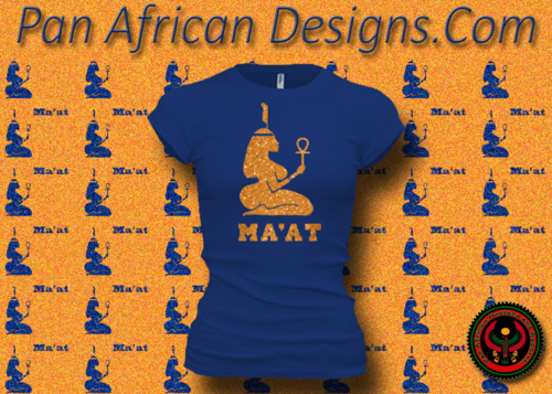 Women's Royal Blue and Gold Maat T-Shirts with Glitter