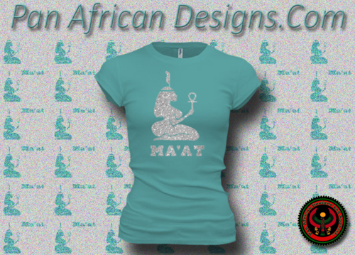 Women's Teal and Silver Maat T-Shirts with Glitter