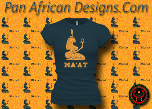 Women's DeepTeal and Gold Maat T-Shirts with Glitter