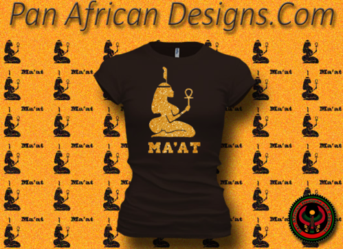 Women's Chocolate and Gold Maat T-Shirts with Glitter