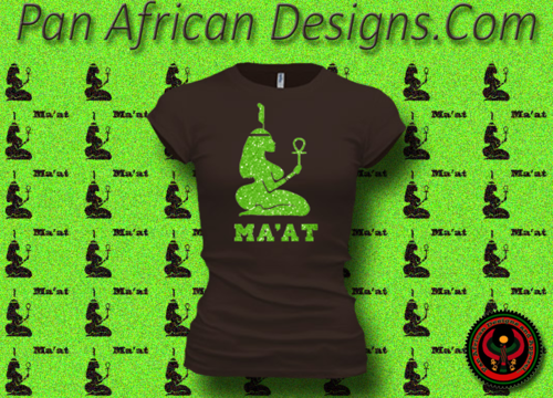 Women's Chocolate and Green Maat T-Shirts with Glitter