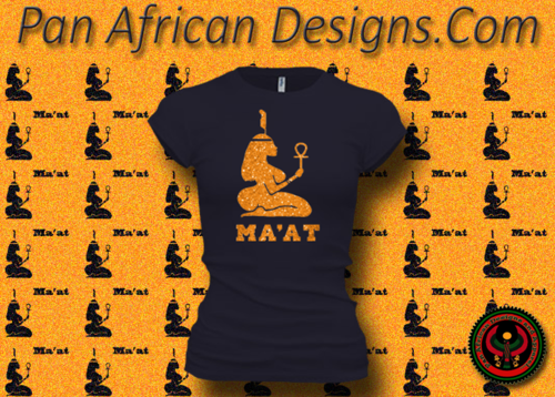 Women's Midnight Blue and Gold Maat T-Shirts with Glitter