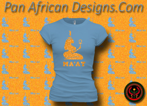 Women's Ocean Blue and Gold Maat T-Shirts with Glitter