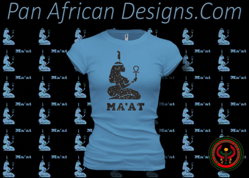 Women's Ocean Blue and Black Maat T-Shirts with Glitter