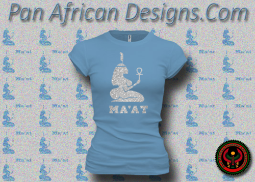 Women's Ocean Blue and Silver Maat T-Shirts with Glitter