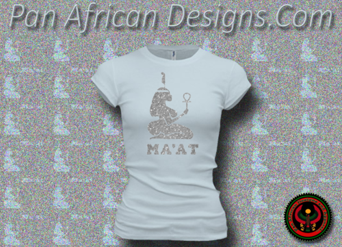 Women's Pale and Silver Maat T-Shirts with Glitter