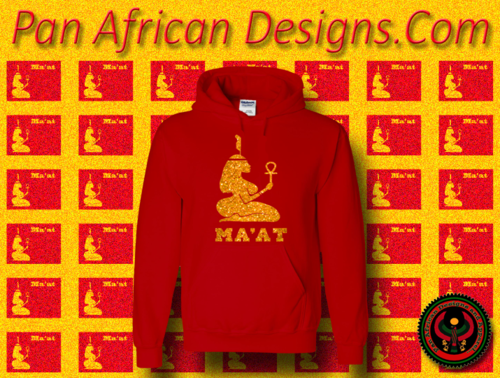 Women's Red and Gold Ma'at Hoodie with Glitter
