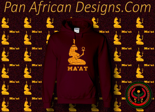Women's Maroon and Gold Ma'at Hoodie with Glitter