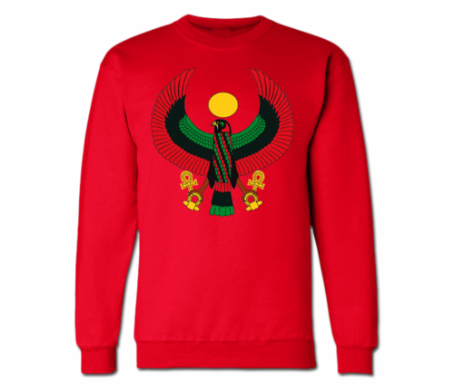 Men's Red Heru Crewneck Sweatshirts