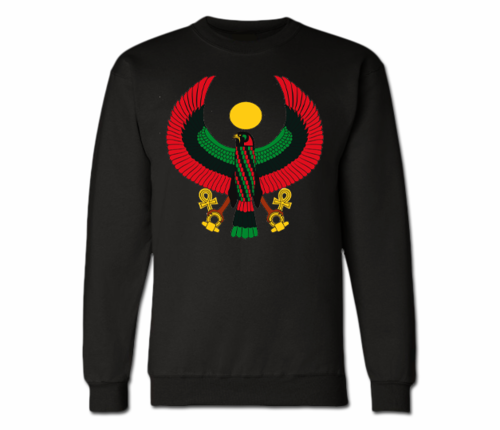 Men's Black Heru Crewneck Sweatshirts