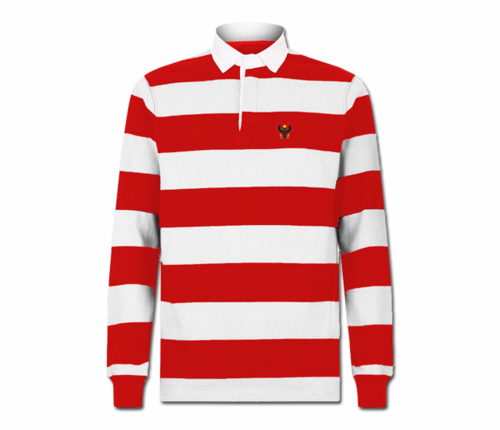 Men Red and White Heru Rubgy Shirt (Long Sleeve)