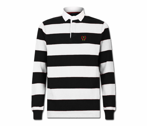Men Black and White Heru Rugby Shirt (Long Sleeve)
