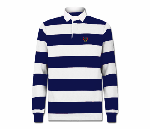 Men Navy Blue and White Heru Rugby Shirt (Long Sleeve)
