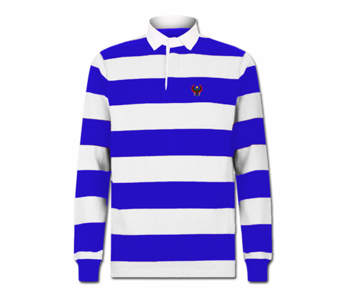 Men Royal Blue and White Heru Rugby Shirt (Long Sleeve)