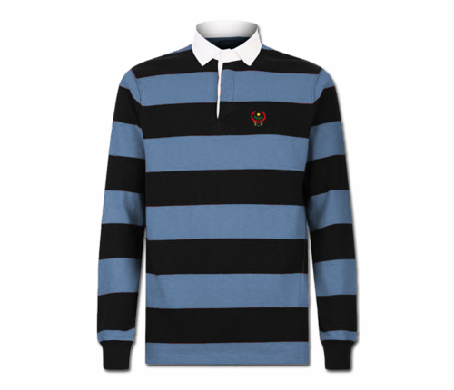 Men Carolina  and Navy Blue Heru Rugby Shirt (Long Sleeve)