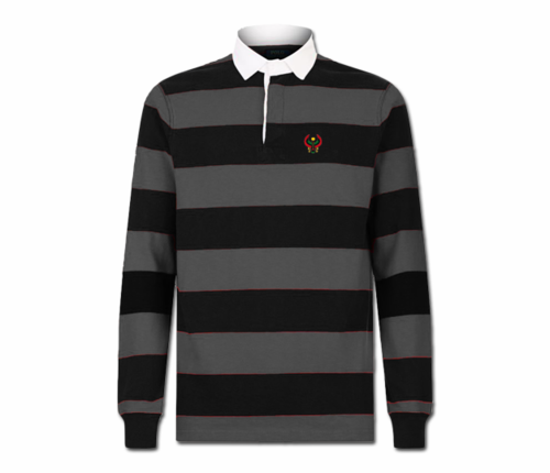 Men's Black and Heather Grey Collard Heru Rugby Shirt (Long Sleeve)