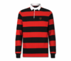 Men's Red and Black Collard Heru Rugby Shirt (Long Sleeve)