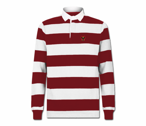 Men's Maroon and White Collard Heru Rugby Shirt (Long Sleeve)